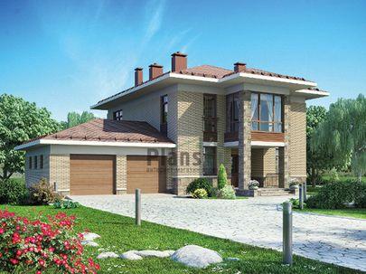 Проект двухэтажного дома 19x14 метров, общей площадью 230 м2, из газобетона (пеноблоков), c гаражом, котельной и кухней-столовой