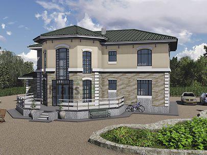 Проект двухэтажного дома 19x15 метров, общей площадью 199 м2, из кирпича, c террасой, котельной и кухней-столовой
