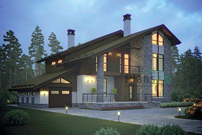 Проект двухэтажного дома 19x15 метров, общей площадью 214 м2, из газобетона (пеноблоков), c гаражом, террасой и котельной