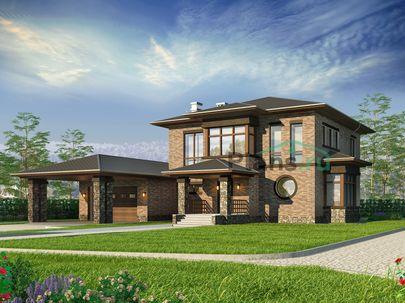 Проект двухэтажного дома 19x15 метров, общей площадью 257 м2, из керамических блоков, c гаражом, террасой, котельной и кухней-столовой