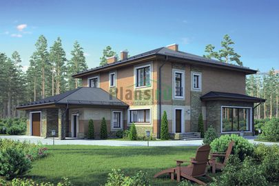 Проект двухэтажного дома 19x15 метров, общей площадью 300 м2, из керамических блоков, c гаражом и котельной