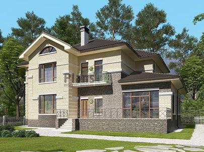 Проект двухэтажного дома 19x15 метров, общей площадью 300 м2, из керамических блоков, c террасой, котельной и кухней-столовой