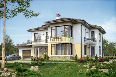 Проект двухэтажного дома 19x15 метров, общей площадью 310 м2, из керамических блоков, c гаражом, террасой, котельной и кухней-столовой
