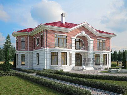 Проект двухэтажного дома 19x15 метров, общей площадью 325 м2, из керамических блоков, c террасой, котельной, лоджией и кухней-столовой