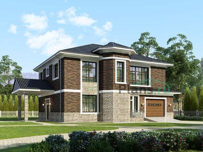 Проект двухэтажного дома 19x16 метров, общей площадью 318 м2, из керамических блоков, c гаражом, террасой, котельной и кухней-столовой