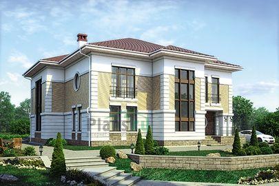 Проект двухэтажного дома 19x16 метров, общей площадью 349 м2, из керамических блоков, со вторым светом, c котельной и кухней-столовой