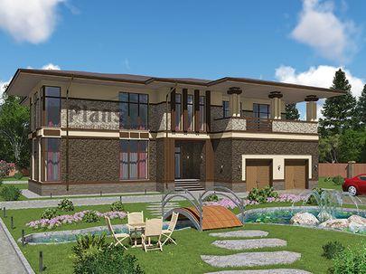 Проект двухэтажного дома 19x16 метров, общей площадью 383 м2, из керамических блоков, c гаражом, террасой, котельной и кухней-столовой