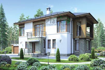 Проект двухэтажного дома 19x17 метров, общей площадью 246 м2, из керамических блоков, со вторым светом, c гаражом, котельной, лоджией и кухней-столовой