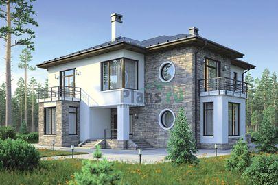 Проект двухэтажного дома 19x17 метров, общей площадью 281 м2, из керамических блоков, со вторым светом, c зимним садом, террасой, котельной и кухней-столовой