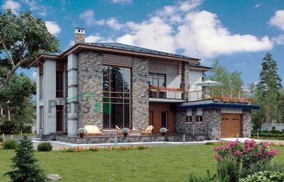 Проект двухэтажного дома 19x17 метров, общей площадью 291 м2, из керамических блоков, со вторым светом, c гаражом, террасой и котельной