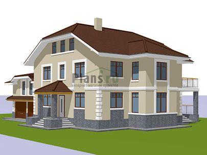 Проект двухэтажного дома 19x17 метров, общей площадью 299 м2, из керамических блоков, c гаражом, зимним садом, террасой, котельной и кухней-столовой
