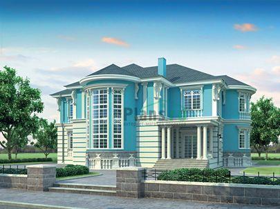 Проект двухэтажного дома 19x18 метров, общей площадью 344 м2, из керамических блоков, со вторым светом, c зимним садом и котельной