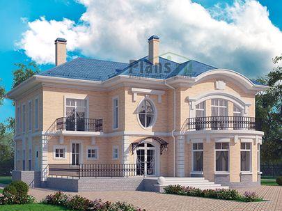 Проект двухэтажного дома 19x20 метров, общей площадью 360 м2, из керамических блоков, c террасой, котельной и кухней-столовой