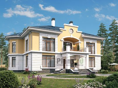 Проект двухэтажного дома 19x21 метров, общей площадью 316 м2, из керамических блоков, c террасой, котельной и кухней-столовой