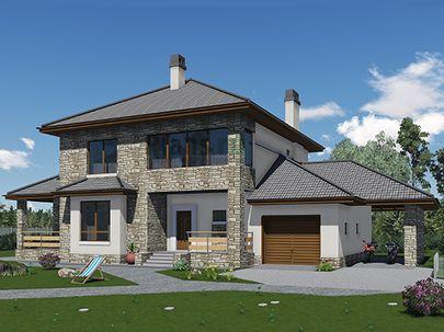 Проект двухэтажного дома 20x11 метров, общей площадью 215 м2, из керамических блоков, c гаражом, террасой и котельной