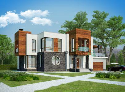Проект двухэтажного дома 20x12 метров, общей площадью 265 м2, из керамических блоков, c гаражом, террасой, котельной, лоджией и кухней-столовой