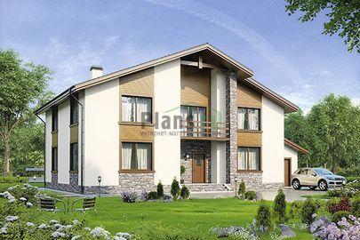 Проект двухэтажного дома 20x12 метров, общей площадью 280 м2, из керамических блоков, c гаражом, террасой, котельной и кухней-столовой