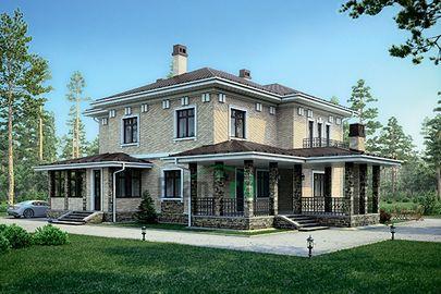 Проект двухэтажного дома 20x13 метров, общей площадью 265 м2, из керамических блоков, c котельной и кухней-столовой