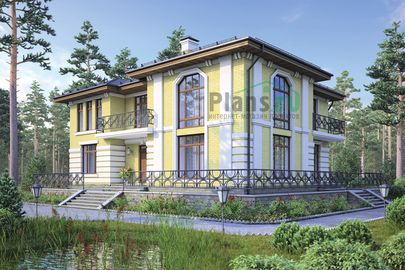 Проект двухэтажного дома 20x16 метров, общей площадью 230 м2, из газобетона (пеноблоков), со вторым светом, c террасой, котельной и кухней-столовой