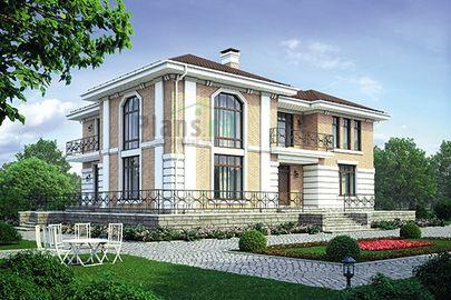 Проект двухэтажного дома 20x16 метров, общей площадью 267 м2, из керамических блоков, со вторым светом, c террасой, котельной и кухней-столовой
