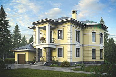 Проект двухэтажного дома 20x16 метров, общей площадью 274 м2, из керамических блоков, c гаражом, террасой, котельной и кухней-столовой