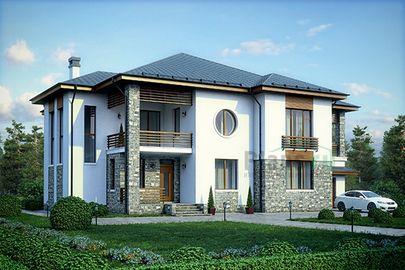 Проект двухэтажного дома 20x16 метров, общей площадью 313 м2, из керамических блоков, со вторым светом, c гаражом, террасой, котельной и кухней-столовой