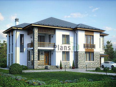 Проект двухэтажного дома 20x16 метров, общей площадью 357 м2, из керамических блоков, c гаражом, террасой, котельной и кухней-столовой