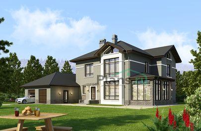 Проект двухэтажного дома 20x17 метров, общей площадью 219 м2, из газобетона (пеноблоков), c гаражом, зимним садом, котельной и кухней-столовой