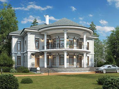 Проект двухэтажного дома 20x17 метров, общей площадью 310 м2, из керамических блоков, c террасой, котельной и кухней-столовой