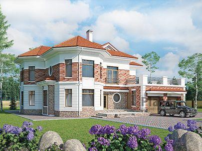 Проект двухэтажного дома 20x18 метров, общей площадью 283 м2, из керамических блоков, c гаражом, террасой, котельной и кухней-столовой
