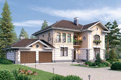 Проект двухэтажного дома 21x11 метров, общей площадью 266 м2, из керамических блоков, c гаражом, котельной и кухней-столовой