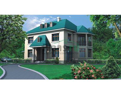 Проект двухэтажного дома 21x11 метров, общей площадью 394 м2, из керамических блоков, c гаражом, террасой и котельной