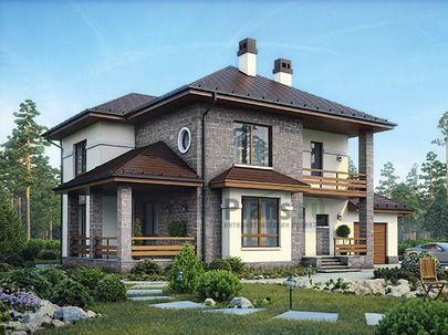 Проект двухэтажного дома 21x12 метров, общей площадью 206 м2, из газобетона (пеноблоков), c гаражом, террасой, котельной и кухней-столовой