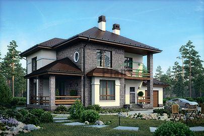 Проект двухэтажного дома 21x12 метров, общей площадью 209 м2, из кирпича, c гаражом, террасой, котельной и кухней-столовой