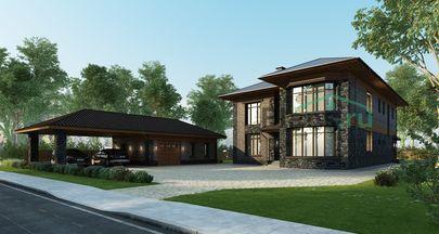 Проект двухэтажного дома 21x14 метров, общей площадью 374 м2, из газобетона (пеноблоков), со вторым светом, c котельной и кухней-столовой