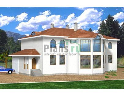 Проект двухэтажного дома 21x14 метров, общей площадью 393 м2, из керамических блоков, c гаражом, зимним садом и кухней-столовой