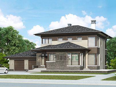 Проект двухэтажного дома 21x17 метров, общей площадью 229 м2, из газобетона (пеноблоков), c гаражом, террасой, котельной и кухней-столовой