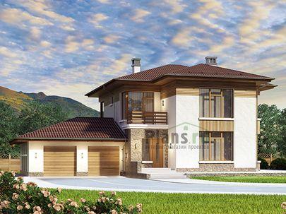 Проект двухэтажного дома 21x17 метров, общей площадью 229 м2, из керамических блоков, со вторым светом, c гаражом, террасой, котельной и кухней-столовой