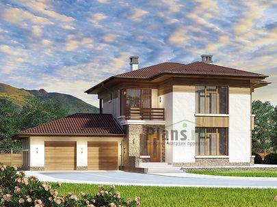 Проект двухэтажного дома 21x17 метров, общей площадью 246 м2, из газобетона (пеноблоков), c гаражом, террасой, котельной и кухней-столовой