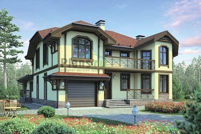 Проект двухэтажного дома 21x17 метров, общей площадью 307 м2, из керамических блоков, со вторым светом, c гаражом и котельной