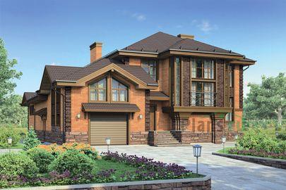 Проект двухэтажного дома 21x17 метров, общей площадью 342 м2, из керамических блоков, c гаражом, бассейном, террасой, котельной и кухней-столовой