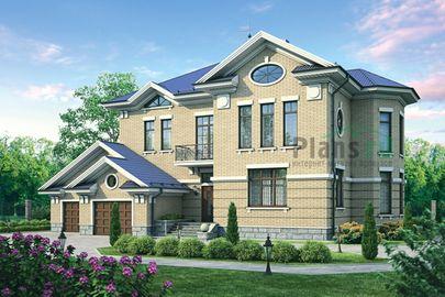 Проект двухэтажного дома 21x18 метров, общей площадью 365 м2, из керамических блоков, c гаражом, террасой, котельной и кухней-столовой