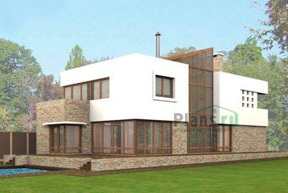Проект двухэтажного дома 21x7 метров, общей площадью 359 м2, из керамических блоков, со вторым светом, c зимним садом, террасой и котельной