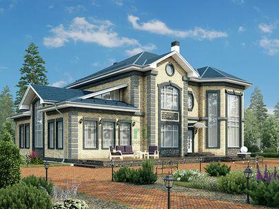 Проект двухэтажного дома 22x14 метров, общей площадью 350 м2, из керамических блоков, со вторым светом, c зимним садом, террасой, котельной и кухней-столовой