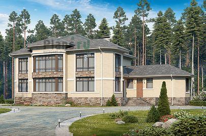 Проект двухэтажного дома 22x16 метров, общей площадью 345 м2, из керамических блоков, c бассейном, террасой и котельной