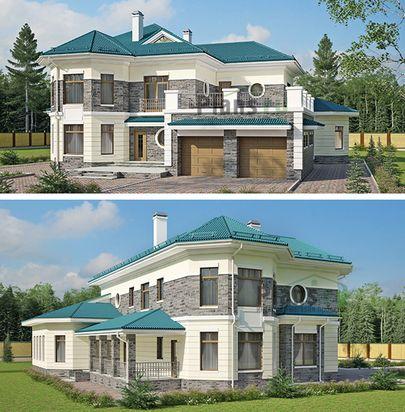 Проект двухэтажного дома 22x19 метров, общей площадью 320 м2, из керамических блоков, c гаражом, бассейном, террасой, котельной и кухней-столовой