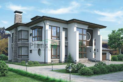 Проект двухэтажного дома 22x21 метров, общей площадью 374 м2, из керамических блоков, c гаражом, террасой и котельной