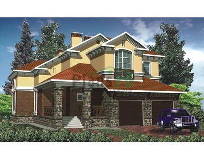 Проект двухэтажного дома 23x12 метров, общей площадью 410 м2, из керамических блоков, со вторым светом, c гаражом