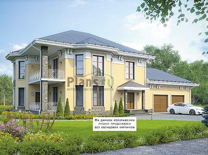Проект двухэтажного дома 23x14 метров, общей площадью 261 м2, из керамических блоков, c гаражом, террасой, котельной и кухней-столовой