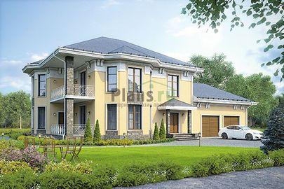 Проект двухэтажного дома 23x14 метров, общей площадью 263 м2, из керамических блоков, c гаражом, террасой, котельной и кухней-столовой